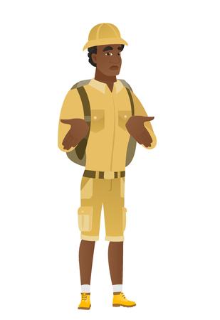African confused traveler shrugging shoulders.