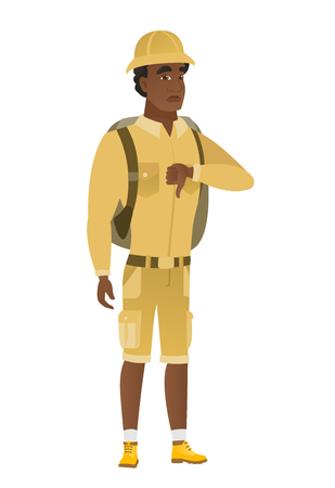 Disappointed african traveler with thumb down. Illustration