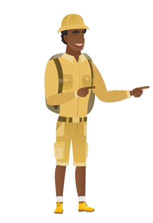 African-american traveler pointing to the side.