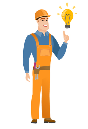 Builder pointing at bright idea light bulb. Ilustração