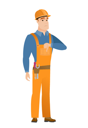 Disappointed caucasian builder with thumb down