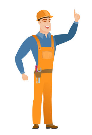 Caucasian builder pointing with his forefinger Illustration
