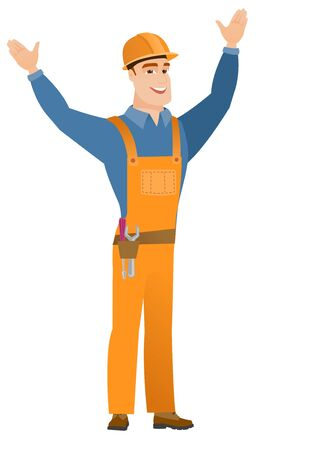 Constructor standing with raised arms up. Illustration