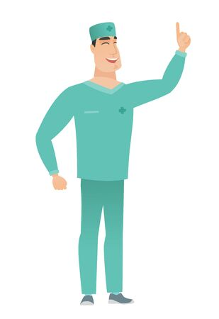 Caucasian doctor pointing with his forefinger Illustration