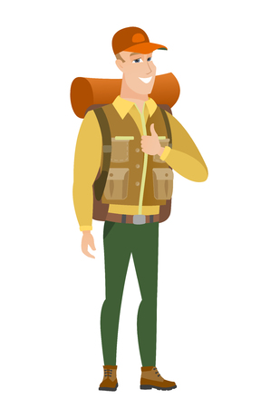 Traveler giving thumb up vector illustration.