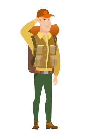 Young caucasian traveler scratching head. Illustration