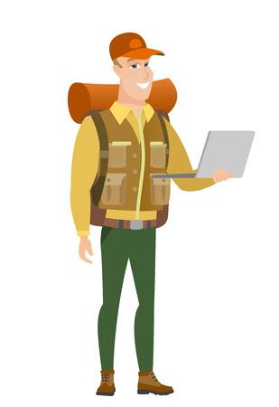 using laptop: Traveler using laptop vector illustration.