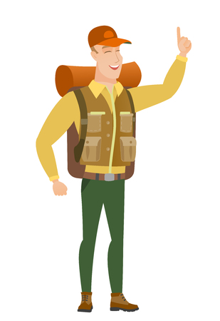 African traveler pointing with his forefinger. Illustration