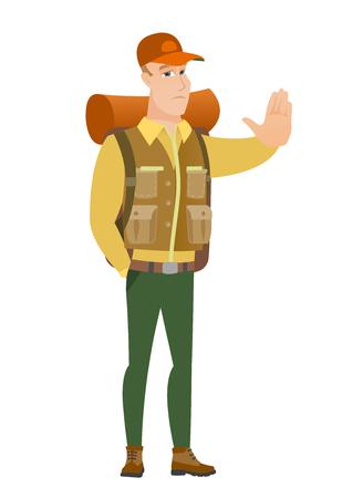 African traveler showing stop hand gesture. Illustration