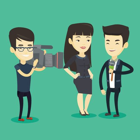 Professional asian reporter with microphone interviews a business woman. Operator filming interview. Journalist making an interview with businessman. Vector flat design illustration. Square layout. Illustration