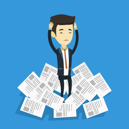 Asian business man surrounded by lots of papers. Overworked business man having a lot of paperwork. Stressed business man standing in the heap of papers. Vector flat design illustration. Square layout Illustration