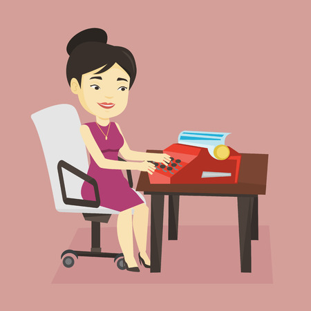 article writing: Young smiling asian female journalist writing an article on a vintage typewriter. Concentrated female journalist working on retro typewriter. Vector flat design illustration. Square layout. Illustration
