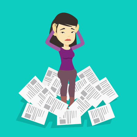 Asian business woman surrounded by lots of papers. Overworked business woman having a lot of paperwork. Business woman standing in the heap of papers. Vector flat design illustration. Square layout.
