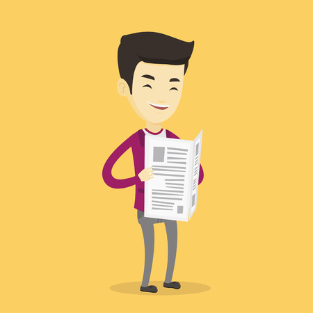 Cheerful asian man reading the newspaper. Young smiling man reading good news in newspaper. Man standing with newspaper in hands. Vector flat design illustration. Square layout.