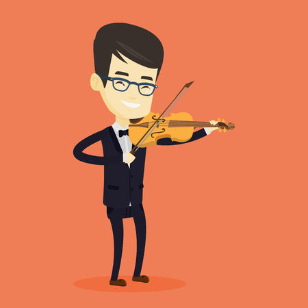 Asian musician standing with violin. Young smiling musician playing violin. Cheerful violinist playing classical music on violin. Vector flat design illustration. Square layout. Illustration
