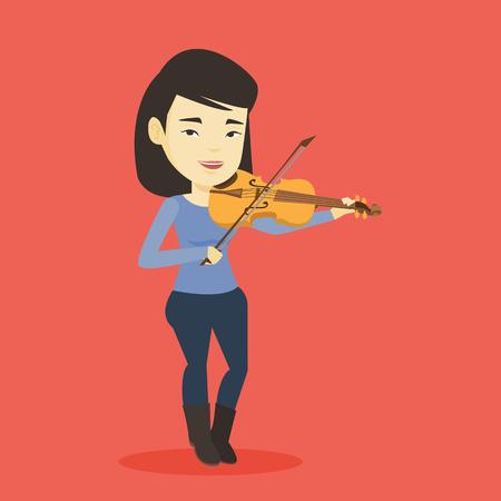 Aziatische vrouwelijke musicus die zich met viool bevindt. Jonge het glimlachen musicus het spelen viool. Vrolijke violist klassieke muziek spelen op viool. Vector platte ontwerp illustratie. Vierkante lay-out.