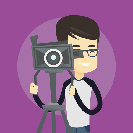 cinematographer: Asian cameraman looking through movie camera on a tripod. Young cameraman with professional video camera. Smiling cameraman taking a video. Vector flat design illustration. Square layout. Illustration