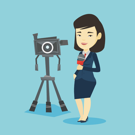 Asian reporter with microphone standing on the background with camera. Young smiling TV reporter presenting the news. TV transmission with reporter. Vector flat design illustration. Square layout.