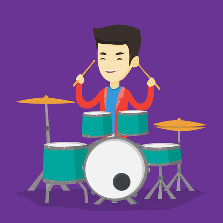 Asian mucisian playing on drums. Young mucisian playing on drums. Smiling mucisian playing on drum kit. Happy man sitting behind the drum kit. Vector flat design illustration. Square layout.