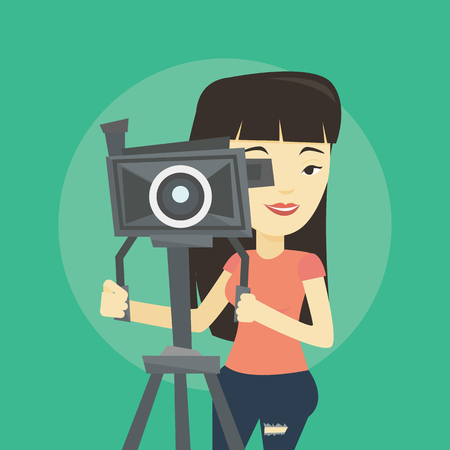 Asian cameraman looking through movie camera on a tripod. Young cameraman with professional video camera. Female cameraman taking a video. Vector flat design illustration. Square layout.