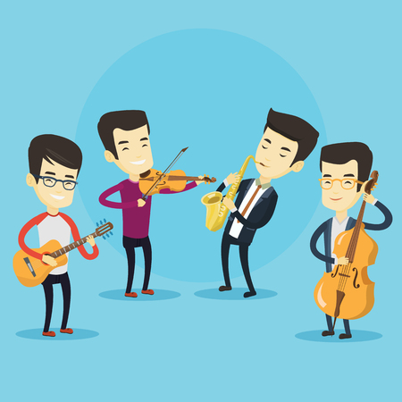 Group of asian musicians playing on musical instruments. Band of musicians playing on musical instruments. Band of musicians performing with instruments. Vector flat design illustration. Square layout