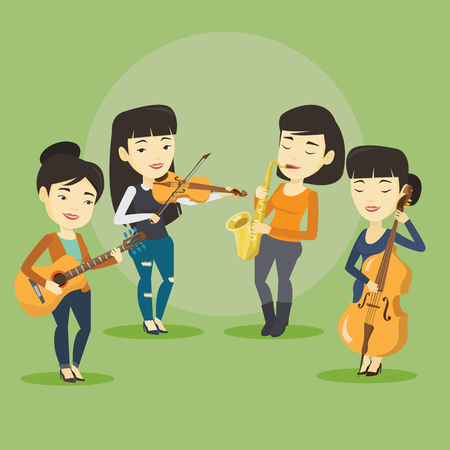 fiddlestick: Band of asian musicians playing on musical instruments. Group of musicians playing on musical instruments. Band of musicians performing with instruments. Vector flat design illustration. Square layout Illustration