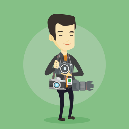 Young asian photographer with many photo cameras equipment. Cheerful paparazzi with many cameras. Professional journalist with many cameras. Vector flat design illustration. Square layout.
