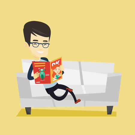 Young asian man reading a magazine. Relaxed man sitting on sofa and reading magazine. Smiling man sitting on the couch with magazine in hands. Vector flat design illustration. Square layout.