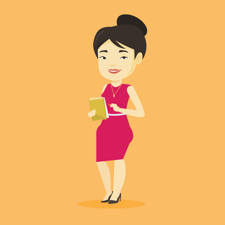 Asian female journalist writing notes on the notepad. Young journalist writing in notebook with pencil. Smiling journalist writing notes with pencil. Vector flat design illustration. Square layout. Illustration