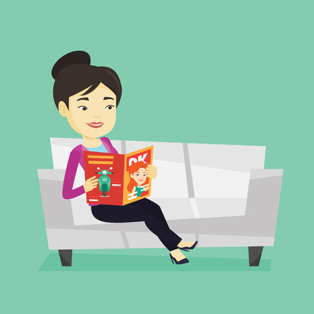 Young asian woman reading a magazine. Relaxed woman sitting on sofa and reading magazine. Smiling woman sitting on the couch with magazine in hands. Vector flat design illustration. Square layout.