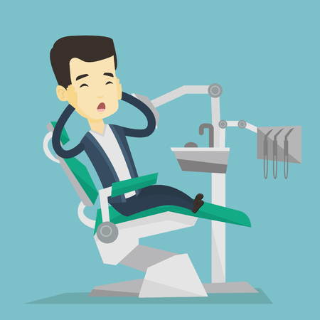 Frightened asian patient at dentist office. Scared young man in dental clinic. Frightened man visiting dentist. Afraid man sitting in dental chair. Vector flat design illustration. Square layout.