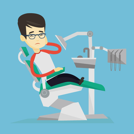 Young upset asian patient visiting dentist because of toothache. Sad patient suffering from toothache. Sorrowful man having a strong toothache. Vector flat design illustration. Square layout. Ilustrace