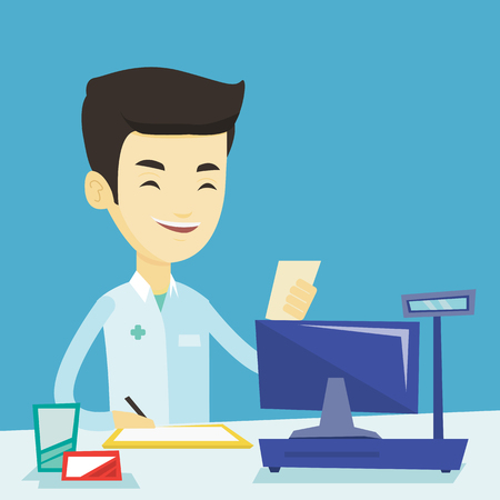 Asian pharmacist writing on clipboard and holding prescription. Pharmacist in medical gown standing at pharmacy counter. Pharmacist reading prescription. Vector flat design illustration. Square layout
