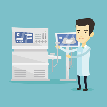 medical scan: Asian doctor with ultrasound scanner in hand. Operator of ultrasound scanning machine analyzing liver of patient. Doctor working on ultrasound equipment. Vector flat design illustration. Square layout