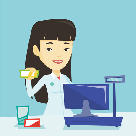 druggist: Young asian pharmacist in medical gown standing at the counter in the pharmacy. Pharmacist showing some medicine. Pharmacist holding a box of pills. Vector flat design illustration. Square layout.