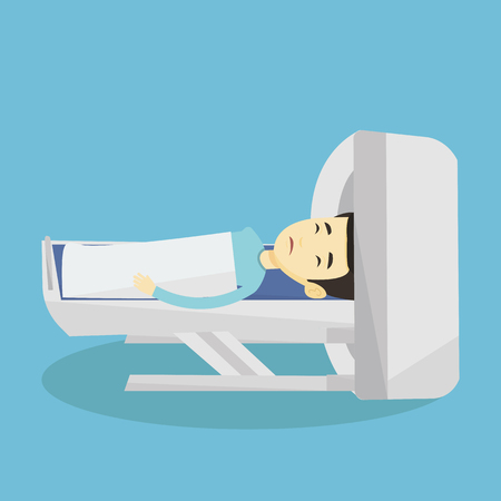 Asian man undergoes a magnetic resonance imaging scan test. Man having magnetic resonance imaging. Magnetic resonance imaging machine scanning patient. Vector flat design illustration. Square layout.