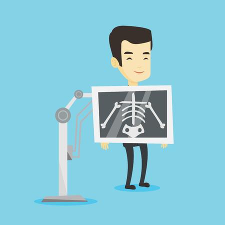 Joven asiático durante el procedimiento de radiografía de tórax. Sonriente hombre con pantalla de rayos X mostrando su esqueleto. Paciente feliz roentgenologist visitante. Vector ilustración de diseño plano. Diseño cuadrado.