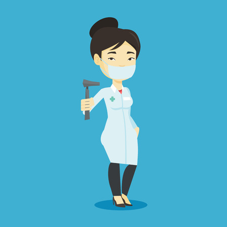 otolaryngologist: Asian ear nose throat doctor holding medical tool. Young doctor in medical gown and mask with tools used for examination of ear, nose, throat. Vector flat design illustration. Square layout. Illustration