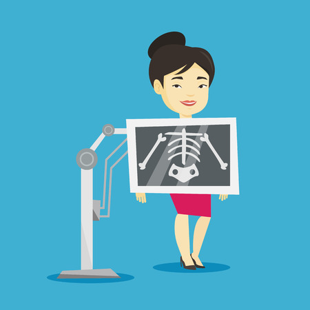 Young asian woman during chest x ray procedure. Smiling woman with x ray screen showing her skeleton. Happy patient visiting roentgenologist. Vector flat design illustration. Square layout.
