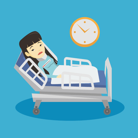Asian sick woman with fever laying in bed. Young sick woman measuring temperature with thermometer. Sick woman suffering from cold or flu virus. Vector flat design illustration. Square layout. Illustration