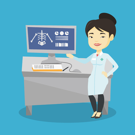 Docteur asiatique en robe médicale examinant une radiographie. Docteur en regardant une radiographie thoracique sur l'écran d'ordinateur. Docteur observant une radiographie du squelette. Illustration vectorielle de design plat. Disposition carrée.