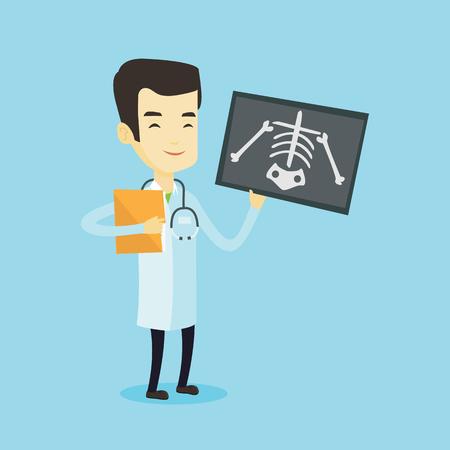 Asiático médico examinando una radiografía. Joven médico sonriente en traje médico mirando una radiografía de tórax. Doctor observando una radiografía de esqueleto. Vector ilustración de diseño plano. Diseño cuadrado.