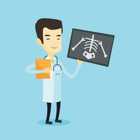 radiogram: Asian doctor examining a radiograph. Young smiling doctor in medical gown looking at a chest radiograph. Doctor observing a skeleton radiograph. Vector flat design illustration. Square layout.