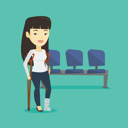 An injured asian woman with leg in plaster. Young woman with broken leg using crutches. Smiling woman with fractured leg in bandage. Vector flat design illustration. Square layout.