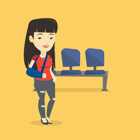 cast: An injured asian woman wearing an arm brace. Young smiling woman standing with her broken right arm. Cheerful woman with broken arm in a cast. Vector flat design illustration. Square layout.