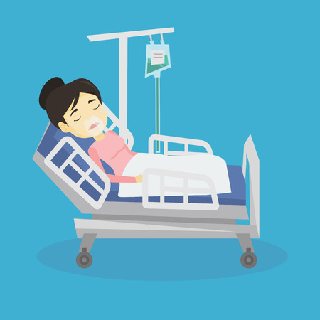 Young asian patient in oxygen mask lying in hospital bed. Patient during medical procedure with drop counter. Patient recovering in bed in hospital. Vector flat design illustration. Square layout.