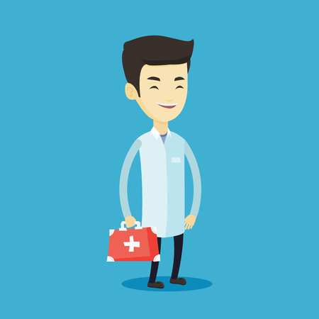Asian doctor in medical gown holding first aid box. Friendly doctor in uniform standing with first aid kit. Doctor carrying first aid box. Vector flat design illustration. Square layout. Vettoriali