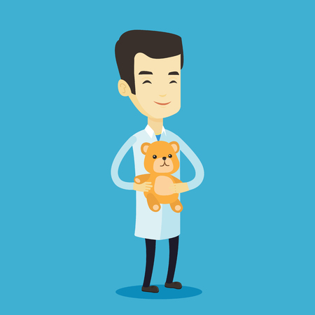 Smiling pediatrician doctor holding a teddy bear. Cheerful pediatrician doctor standing with a teddy bear. Young asian pediatrician in medical gown. Vector flat design illustration. Square layout. 矢量图像
