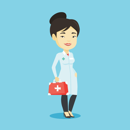 Asian doctor in medical gown holding first aid box. Friendly doctor in uniform standing with first aid kit. Doctor carrying first aid box. Vector flat design illustration. Square layout. Illustration
