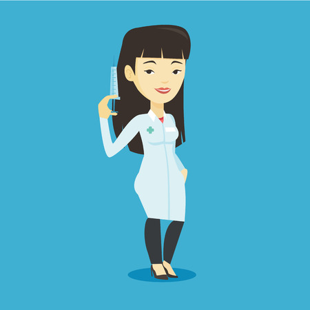 prick: Asian doctor in medical gown holding medical injection syringe. Young doctor standing with syringe. Doctor holding a syringe ready for injection. Vector flat design illustration. Square layout.